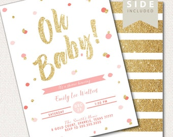 Gold Baby Sprinkle Invitation, Pink and Gold Baby Shower Invitation, Printable Invite, Gold Glitter Baby Sprinkle, Gold BabyShower