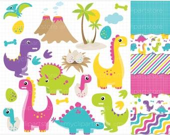 Clipart Combo - Dinosaur Fun (Girl) / Dino Clip Art / Digital Clipart - Instant Download