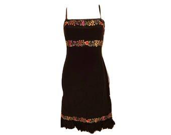 Vintage 90's Black Silk Floral Embroidered Dress, Black Silk Dress, Floral Dress