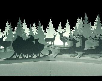 3D Pop up layered scene card Winter Wonderland