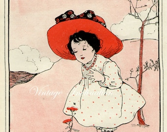 Antique print BABY GIRL rhyme 1910 illustration nursery decor baby shower gift baby red