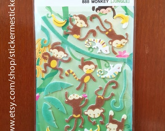 FUZZY Animal stickers, Fuzzy Monkey sticker, Felt Monkey sticker, Gorilla sticker, Monkey sticker, Funny Sticker World 16