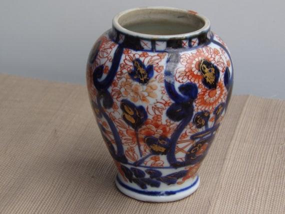 Antique Japanese Porcelain Imari Vase Vintage Ceramic Meiji