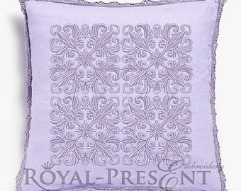 Quilt Block Machine Embroidery Design Lilac Color - 7 sizes