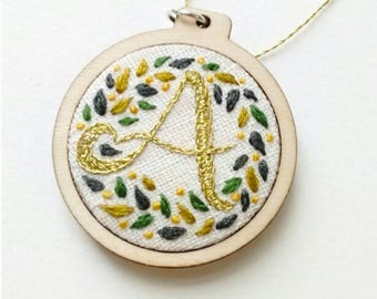 Personalised Embroidery Mini Hoop - 4cm Decoration - Customised with Initial