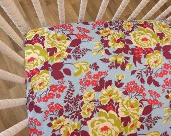 Crib Sheet- Baby Sheet- READY TO SHIP--Rose Bouquet Crib Sheet- Fitted Crib Sheet- Floral Crib Sheet