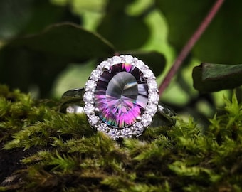 Mystic rainbow and CZ topaz ring, solid silver 925 and rhodium plated