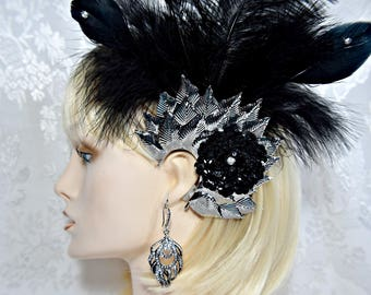GATSBY HEADPIECE Earrings Art Deco 1920s Roaring 20s Flapper Feather Fascinator hair clip, gatsby wedding gatsby accessories  dress party