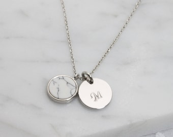 Howlite pendant with personalized initial silver coin disc Necklace - S2373-1