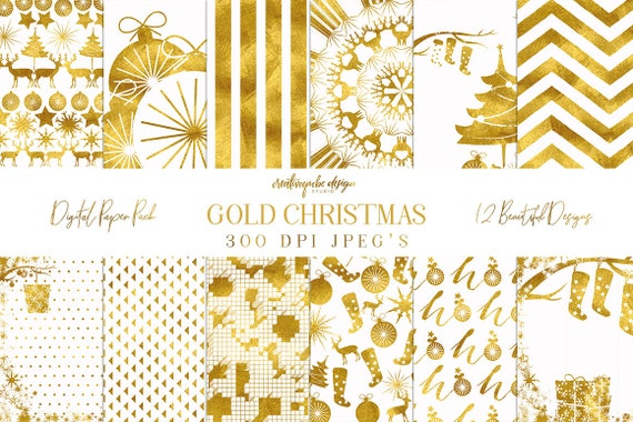 Digital paper, Christmas Gold Foil Paper, Digital Scrapbook paper pack - Instant download - 12 Digital Papers, Planner Printable
