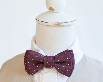 Bow Tie, Boys Bow Tie, Bow Ties, Baby Bow Ties, Bowtie, Bowties, Ring Bearer, Bow ties For Boys, Ties, Christmas  - Cranberry Chambray Dot