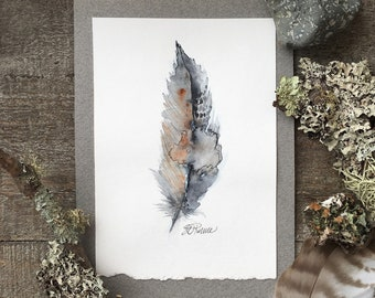 Zen  Feather - Trail Series - Original OOAK Painting