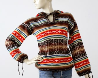 1970s hooded hippie sweater, vintage southwestern knit pullover