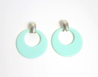 VINTAGE Earrings Big Hoops Aqua Blue Pierced