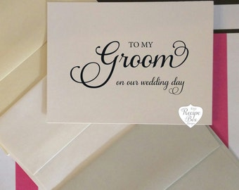 to my bride on our wedding day to my groom wedding card
