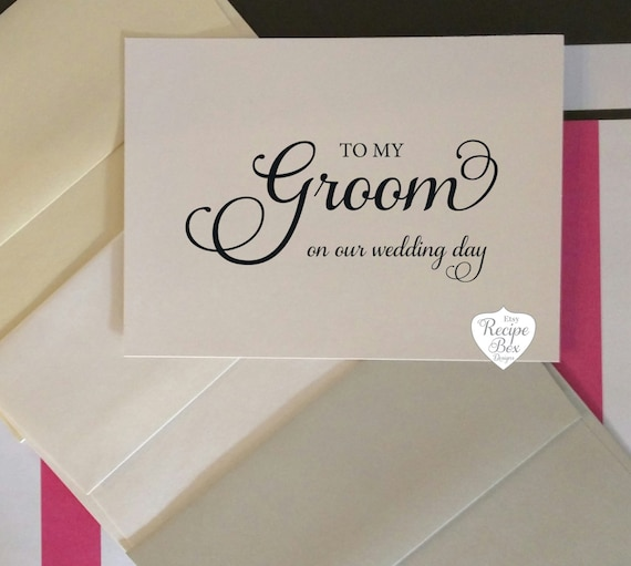 To My Groom Bride on our wedding day Groom Card Wedding