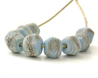 Stony Nugget Beads | Tumbled Blue Lampwork Glass Beads | Beach Blue Bead Set | Handmade Beads | UK SRA | Artisan beads
