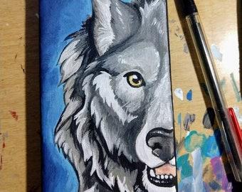 Wolf Up Close - 5x3 Original Canvas painting