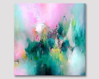 Originele kunst, abstract schilderij, abstracte vierkante artwork, abstracte kunst, donker groen acryl, gele groene, roze kleurrijke illustraties