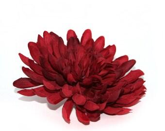 Large Christmas Red Mum - Artificial Flowers, Silk Flower Heads