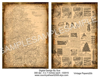 INSTANT DOWNLOAD - Vintage Papers20 - Digital Download - Crafts Scrapbook Supplies