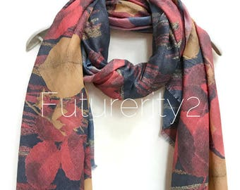 Red Tropical Flowers Grey Scarf / Spring Summer Scarf /Autumn Winter Scarf / Gifts for Her /Gifts For Mother /Handmade Accessories