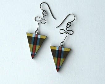 cornish tartan earrings, cornish tartan earrings triangles, cornish tartan, cornish plaid, SOUTH CROFTY, hypoallergenic titanium earwires