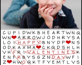 """Personalized Photo Valentines Day Puzzle Card -- sheet of 8 2.5x3.5"""" wallet sized printable cards"""