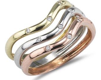 Tri-Color Rings, Stackable Gold Bands, Wave Design Bands, 0.12 ct Bezel Set Diamonds, Stacking Bands, 3 Stacking Anniversary Bands, 14k Gold