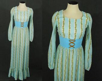 Clearance SALE vintage 70s Prairie Dress - 1970s Maxi Dress - Blue Floral Gypsy Hippie Dress Sz XS