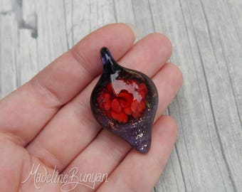 Everlasting Red Rose Pendant, unusual gift, collectible glass art, lampwork, flower, implosion