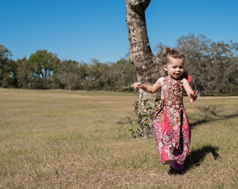 Girl's Maxi Halter Sun Dress in African Print (Pink & Wine)