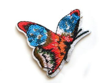 Butterfly Embroidered Patch Appliqué Sequins