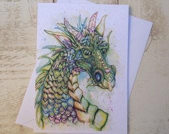 Dragon Card, Dragon gift, Greeting Card, Dragon lovers, mythical Animal, fantasy art card, Dragon print, birthday card, thank you card