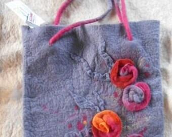 Feltro borsa, lana merino, borsa gersimifelt, fiore