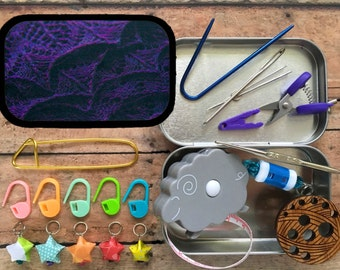 Gift for Knitters: Purple Abrazo Knitter's Tool Tin