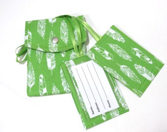 Handmade Passport cover - two matching luggage tags - White feathers on green - Ready to ship - Travel - birthday - gift ideas for mom