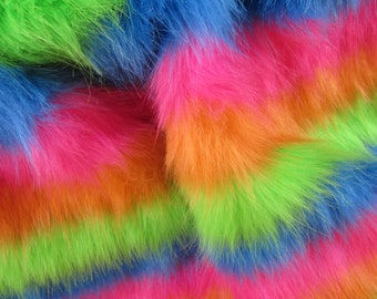 Clown's Colar - Bright rainbow 50mm pile synthetic faux fur fabric -1/4m piece