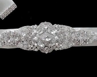 Ellie Wedding Bridal Jeweled Crystal Brooch Sashes Beaded Crystal Belt