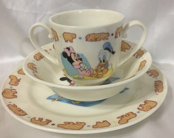 Mickey and Minnie Mouse Childs Serving Set Goebel United States Disney Made in Japan