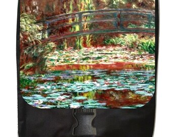 Claude Monet's Bridge Over a Pond of Water Lily Irises - Large Black School Backpack
