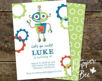 Rockin Robot // Nuts and Bolts // Robot Birthday Invitation