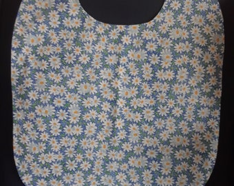 Adult clothing protector, beautiful blue with daisy pattern