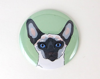 Kitty cat button, sphinx siamese cat magnet, seal point cat magnet, fridge magnet, large button