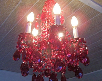 Cherry Red Vintage Crystal and Brass Petite Chandelier
