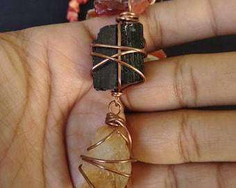 Black Tourmaline & Citrine necklace