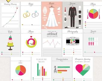 Printable wedding journal cards, Digital journal cards, wedding project life printables, journal cards wedding printable, Instant download