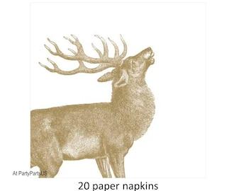 gold elk napkins, golden stag, buck, deer tableware, woodland wedding decorations, rustic, paper, disposable, elegant, formal, outdoors