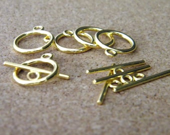 50 set gold - 15 mm x 2 mm AC28 metal toggle clasp