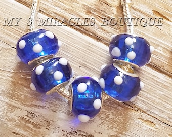Blue White Polka Dots Large Hole Beads - European Style Charms - Wholesale Murano Glass Beads - Bulk Lot - fits Bracelets - DIY Jewelry Gift